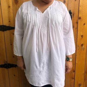 White Airy Flowy Embroidered Tunic Top